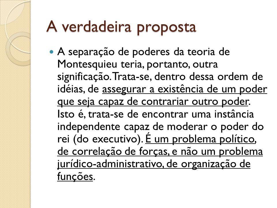 A verdadeira proposta A separação de poderes da teoria de Montesquieu teria, portanto, outra significação.