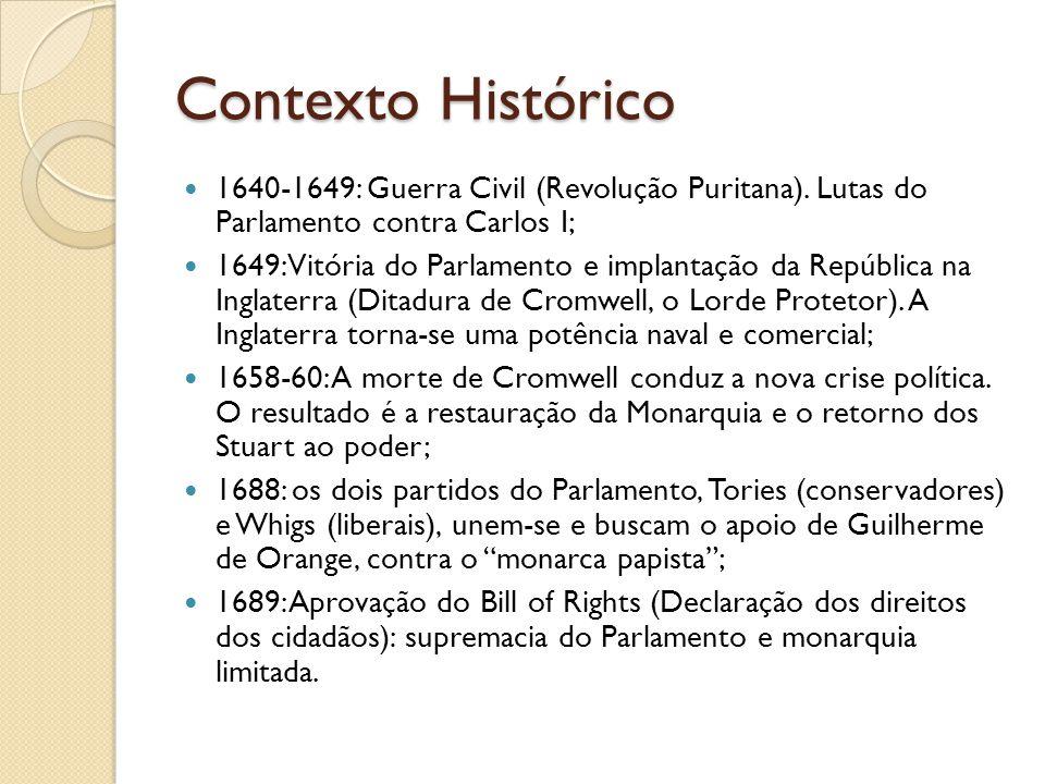 Contexto Histórico 1640-1649: Guerra Civil (Revolução Puritana).