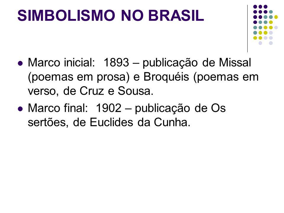SIMBOLISMO NO BRASIL Marco inicial: 1893 – publicação de Missal (poemas em prosa) e Broquéis (poemas em verso, de Cruz e Sousa. Marco final: 1902 – pu