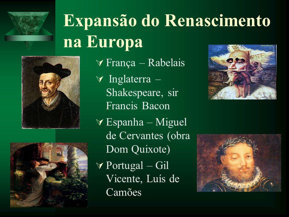 Expansão do Renascimento na Europa França – Rabelais Inglaterra – Shakespeare, sir Francis Bacon Espanha – Miguel de Cervantes (obra Dom Quixote) Port