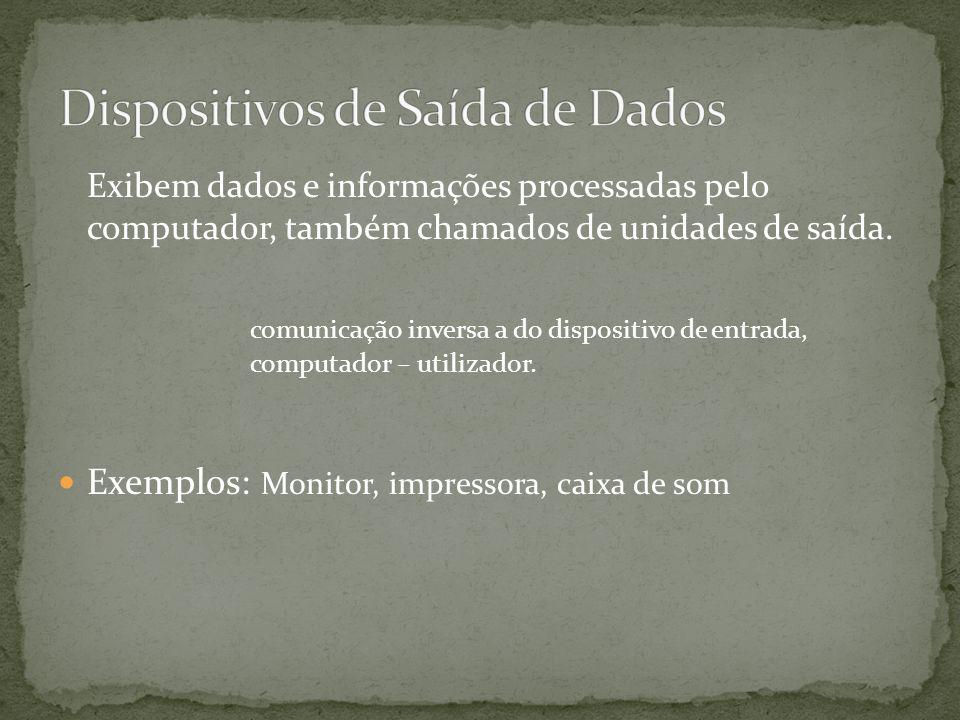 Exibem dados e informações processadas pelo computador, também chamados de unidades de saída.
