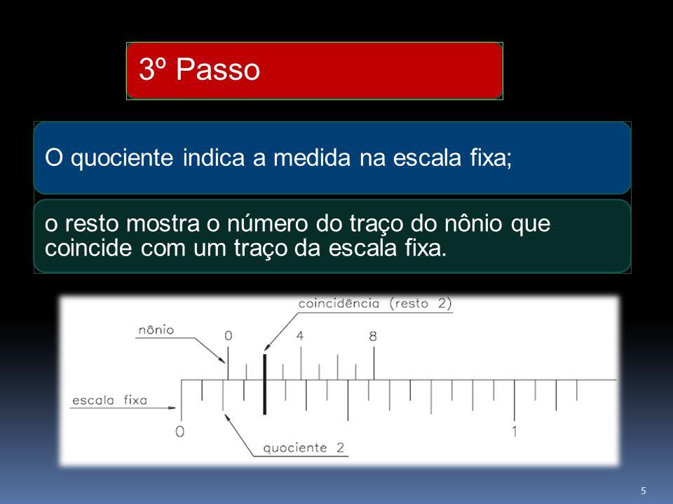 3º Passo O quociente indica a medida na escala fixa; o resto mostra o número do traço do nônio que coincide com um traço da escala fixa. 5