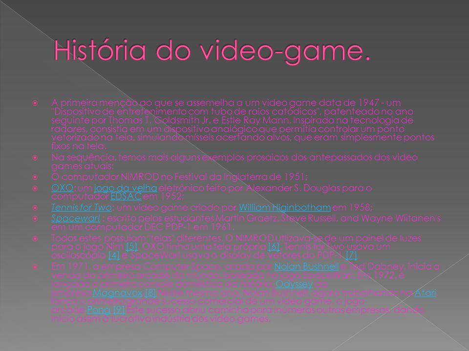 A primeira menção ao que se assemelha a um video game data de 1947 - um