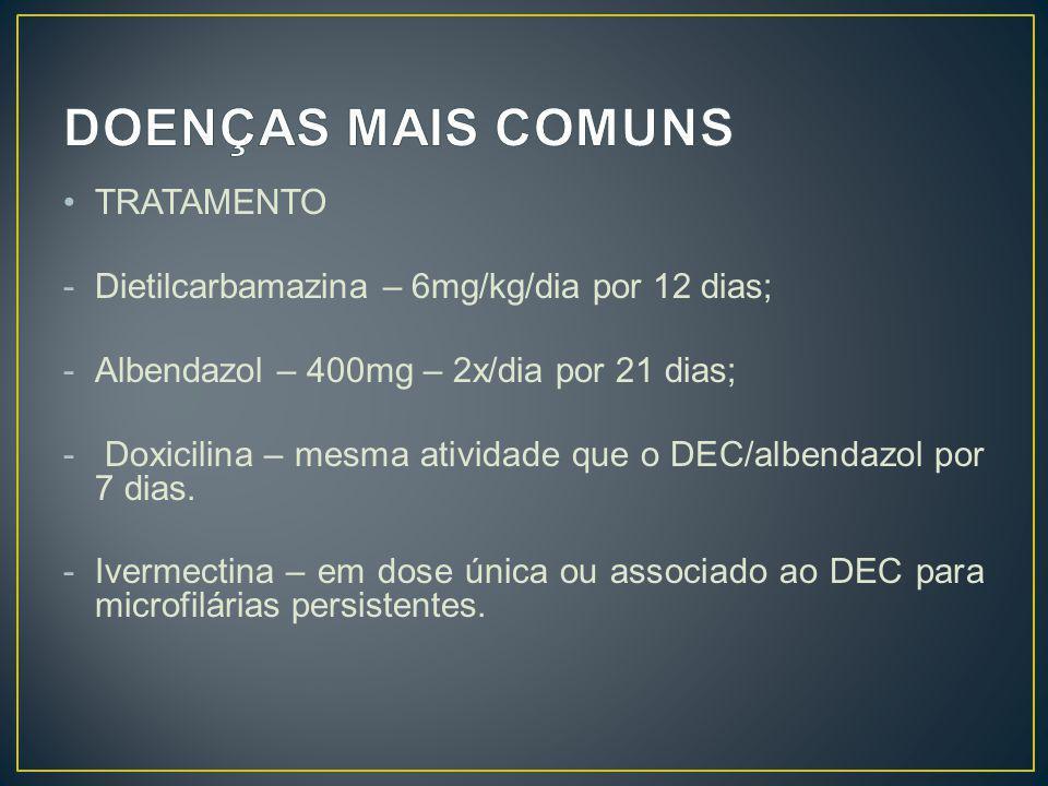 TRATAMENTO -Dietilcarbamazina – 6mg/kg/dia por 12 dias; -Albendazol – 400mg – 2x/dia por 21 dias; - Doxicilina – mesma atividade que o DEC/albendazol