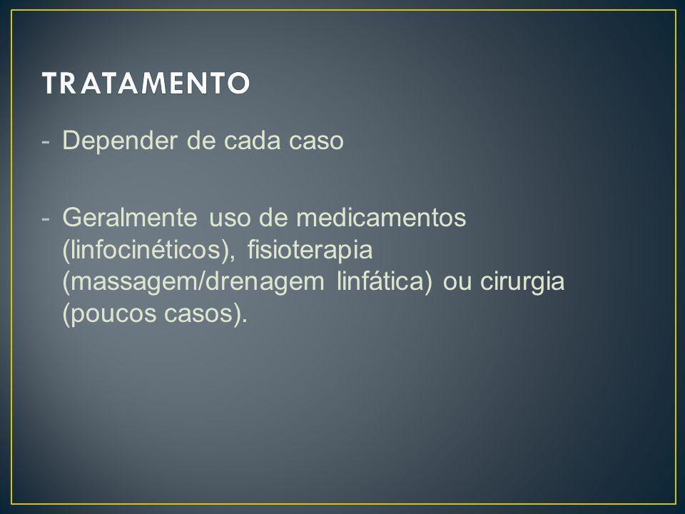 -Depender de cada caso -Geralmente uso de medicamentos (linfocinéticos), fisioterapia (massagem/drenagem linfática) ou cirurgia (poucos casos).