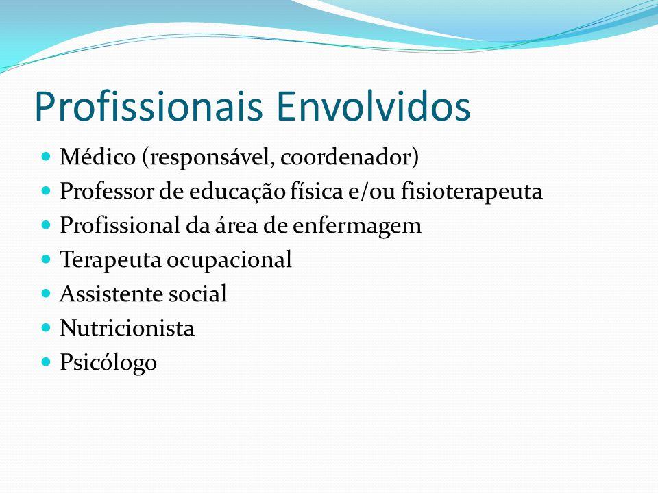 Profissionais Envolvidos Médico (responsável, coordenador) Professor de educação física e/ou fisioterapeuta Profissional da área de enfermagem Terapeuta ocupacional Assistente social Nutricionista Psicólogo