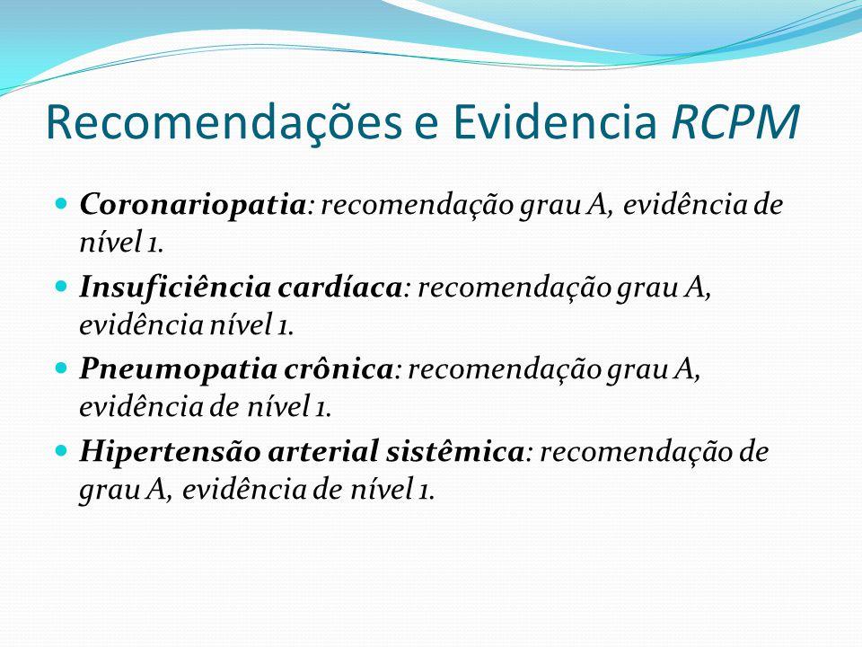 Recomendações e Evidencia RCPM Coronariopatia: recomendação grau A, evidência de nível 1.
