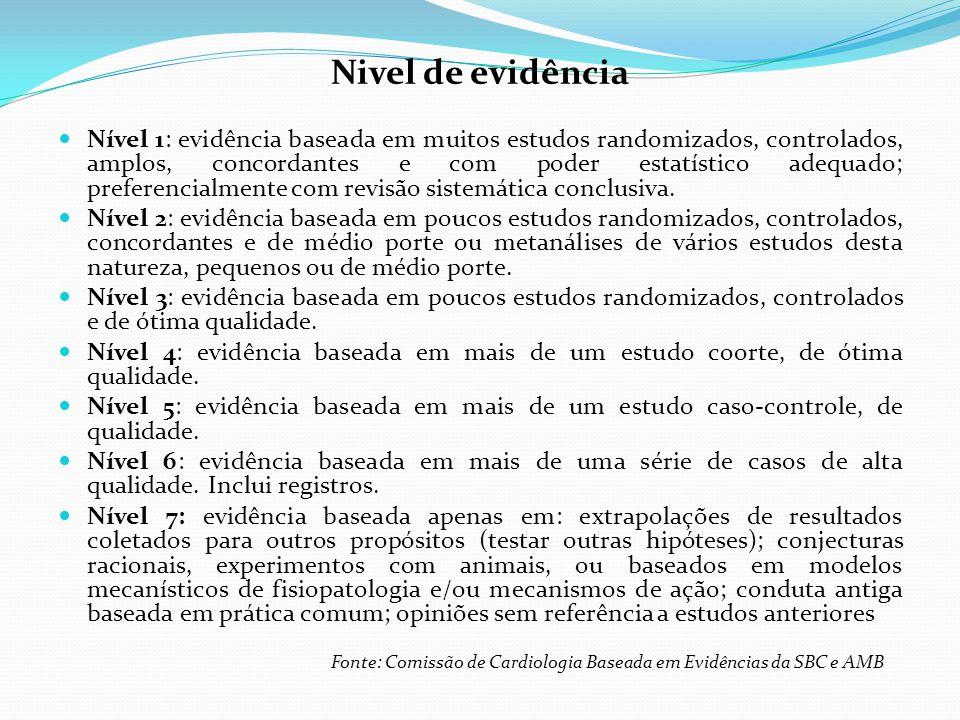 Nivel de evidência Nível 1: evidência baseada em muitos estudos randomizados, controlados, amplos, concordantes e com poder estatístico adequado; preferencialmente com revisão sistemática conclusiva.