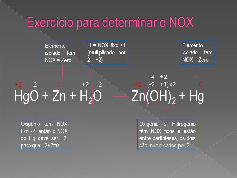 HgO + Zn + H 2 O Zn(OH) 2 + Hg +2-2 0 +2 -2+2 (-2+1) 0x2 -4+2 Oxigênio tem NOX fixo -2, então o NOX do Hg deve ser +2, para que: -2+2=0 Elemento isolado tem NOX = Zero H = NOX fixo +1 (multiplicado por 2 = +2) Oxigênio e Hidrogênio têm NOX fixos e estão entre parênteses, os dois são multiplicados por 2 Elemento isolado tem NOX = Zero