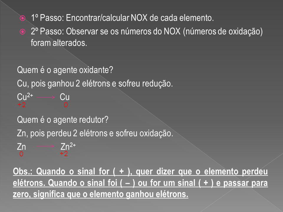 1º Passo: Encontrar/calcular NOX de cada elemento.