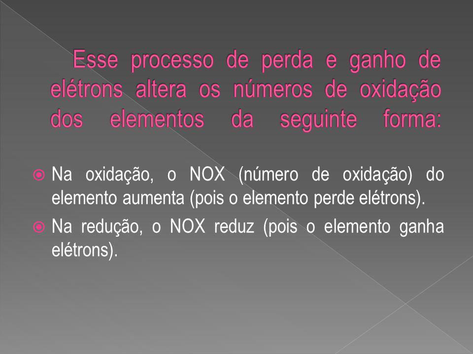 Na oxidação, o NOX (número de oxidação) do elemento aumenta (pois o elemento perde elétrons).
