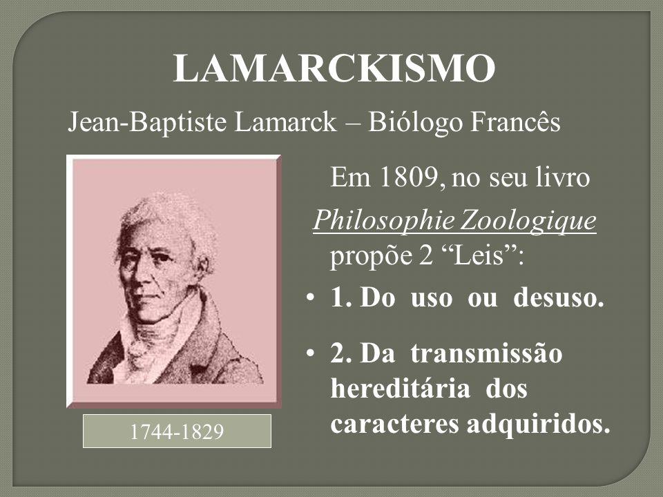 Em 1809, no seu livro Philosophie Zoologique propõe 2 Leis: 1. Do uso ou desuso. 2. Da transmissão hereditária dos caracteres adquiridos. 1744-1829 LA