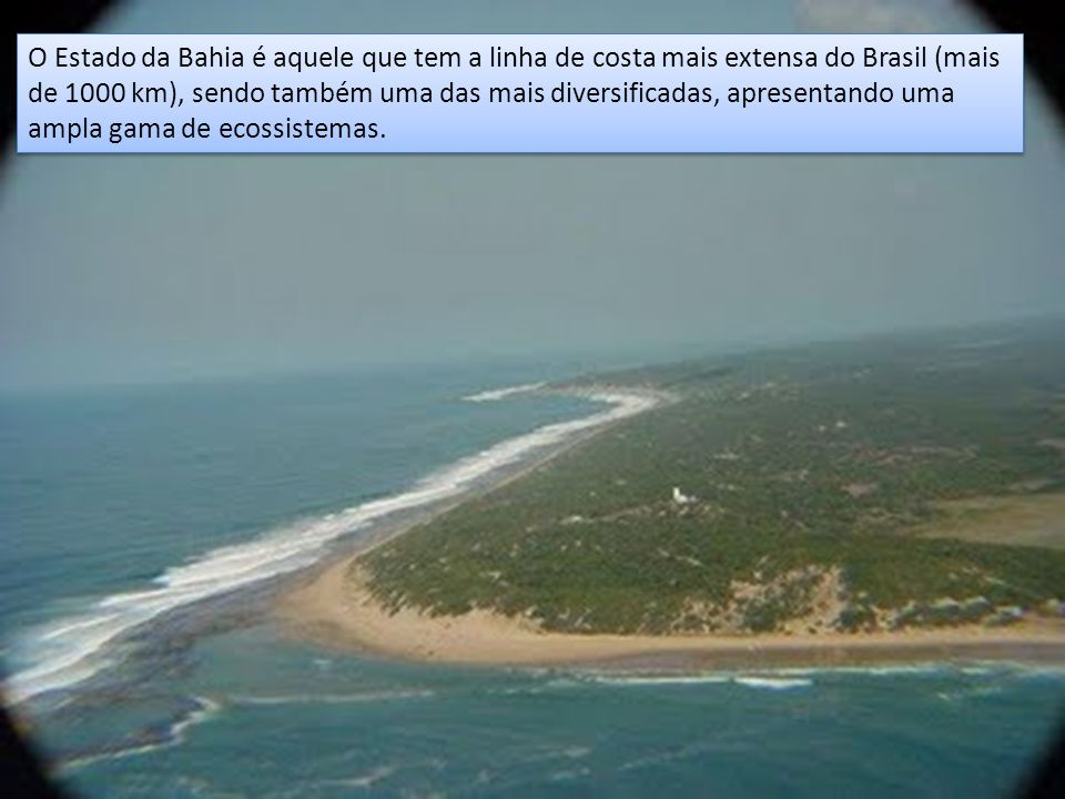 O Estado da Bahia é aquele que tem a linha de costa mais extensa do Brasil (mais de 1000 km), sendo também uma das mais diversificadas, apresentando u