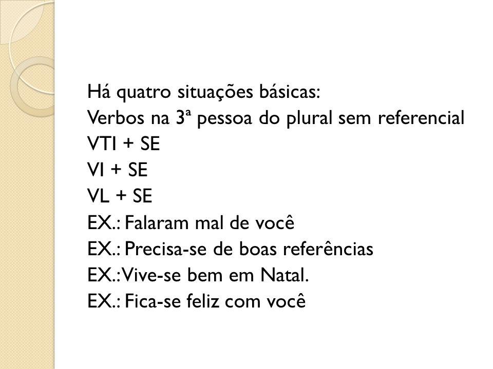 Há quatro situações básicas: Verbos na 3ª pessoa do plural sem referencial VTI + SE VI + SE VL + SE EX.: Falaram mal de você EX.: Precisa-se de boas referências EX.: Vive-se bem em Natal.