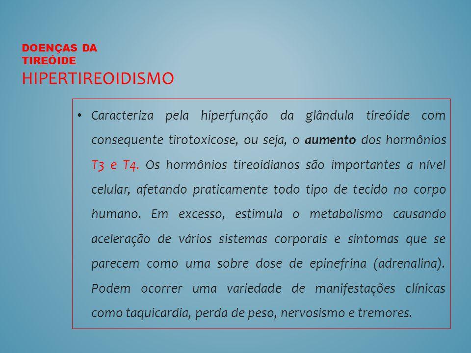 Caracteriza pela hiperfunção da glândula tireóide com consequente tirotoxicose, ou seja, o aumento dos hormônios T3 e T4. Os hormônios tireoidianos sã