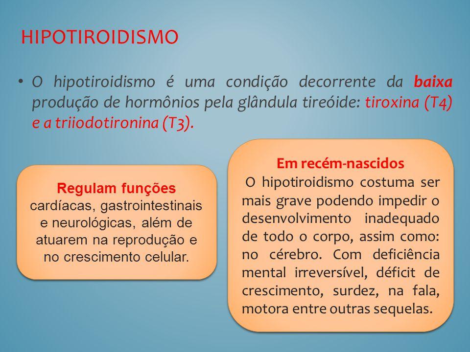 O hipotiroidismo é uma condição decorrente da baixa produção de hormônios pela glândula tireóide: tiroxina (T4) e a triiodotironina (T3). HIPOTIROIDIS
