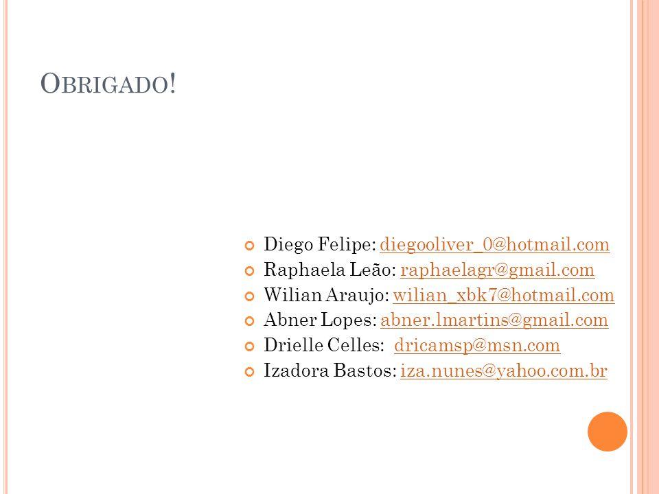 O BRIGADO ! Diego Felipe: diegooliver_0@hotmail.comdiegooliver_0@hotmail.com Raphaela Leão: raphaelagr@gmail.comraphaelagr@gmail.com Wilian Araujo: wi