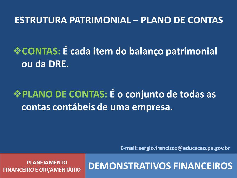 ESTRUTURA PATRIMONIAL – PLANO DE CONTAS PLANEJAMENTO FINANCEIRO E ORÇAMENTÁRIO DEMONSTRATIVOS FINANCEIROS CONTAS: É cada item do balanço patrimonial o