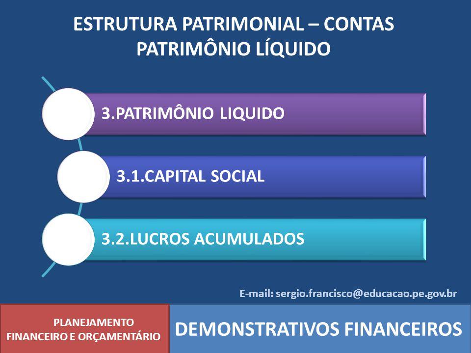 ESTRUTURA PATRIMONIAL – CONTAS PATRIMÔNIO LÍQUIDO PLANEJAMENTO FINANCEIRO E ORÇAMENTÁRIO DEMONSTRATIVOS FINANCEIROS 3.PATRIMÔNIO LIQUIDO 3.1.CAPITAL S