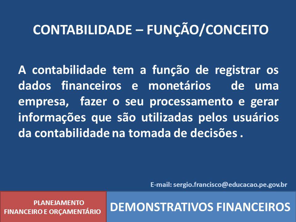 CONTABILIDADE – FUNÇÃO/CONCEITO PLANEJAMENTO FINANCEIRO E ORÇAMENTÁRIO DEMONSTRATIVOS FINANCEIROS A contabilidade tem a função de registrar os dados f
