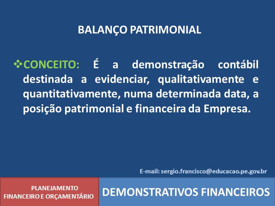BALANÇO PATRIMONIAL PLANEJAMENTO FINANCEIRO E ORÇAMENTÁRIO DEMONSTRATIVOS FINANCEIROS CONCEITO: É a demonstração contábil destinada a evidenciar, qual