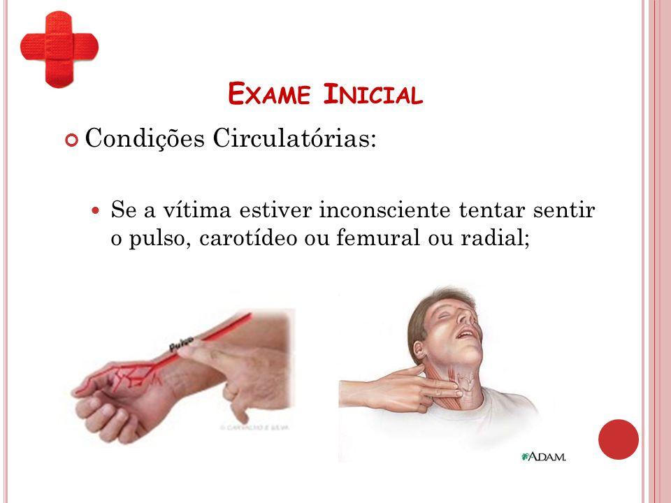 E XAME I NICIAL Condições Circulatórias: Se a vítima estiver inconsciente tentar sentir o pulso, carotídeo ou femural ou radial;