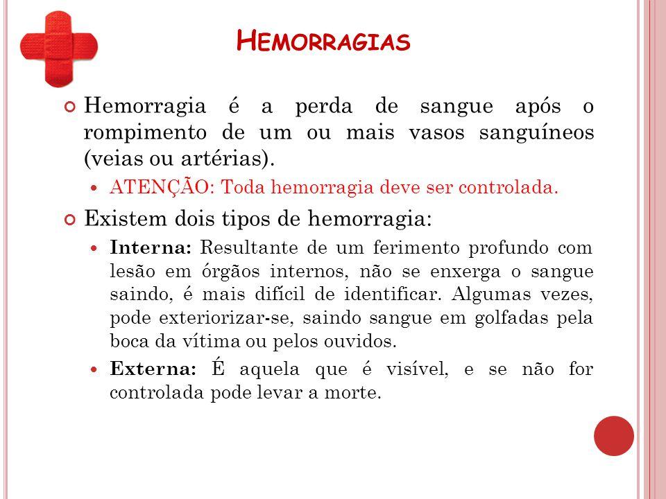 H EMORRAGIAS Hemorragia é a perda de sangue após o rompimento de um ou mais vasos sanguíneos (veias ou artérias). ATENÇÃO: Toda hemorragia deve ser co