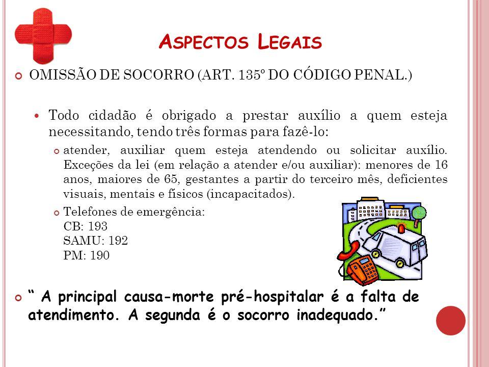 A SPECTOS L EGAIS OMISSÃO DE SOCORRO (ART. 135º DO CÓDIGO PENAL.) Todo cidadão é obrigado a prestar auxílio a quem esteja necessitando, tendo três for