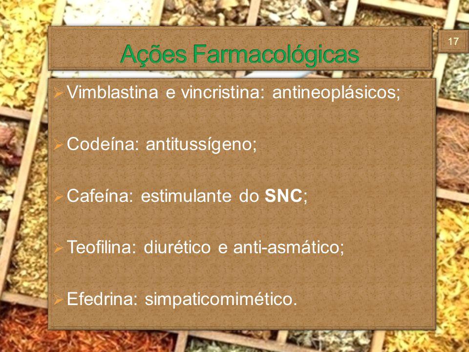 Vimblastina e vincristina: antineoplásicos; Codeína: antitussígeno; Cafeína: estimulante do SNC; Teofilina: diurético e anti-asmático; Efedrina: simpa