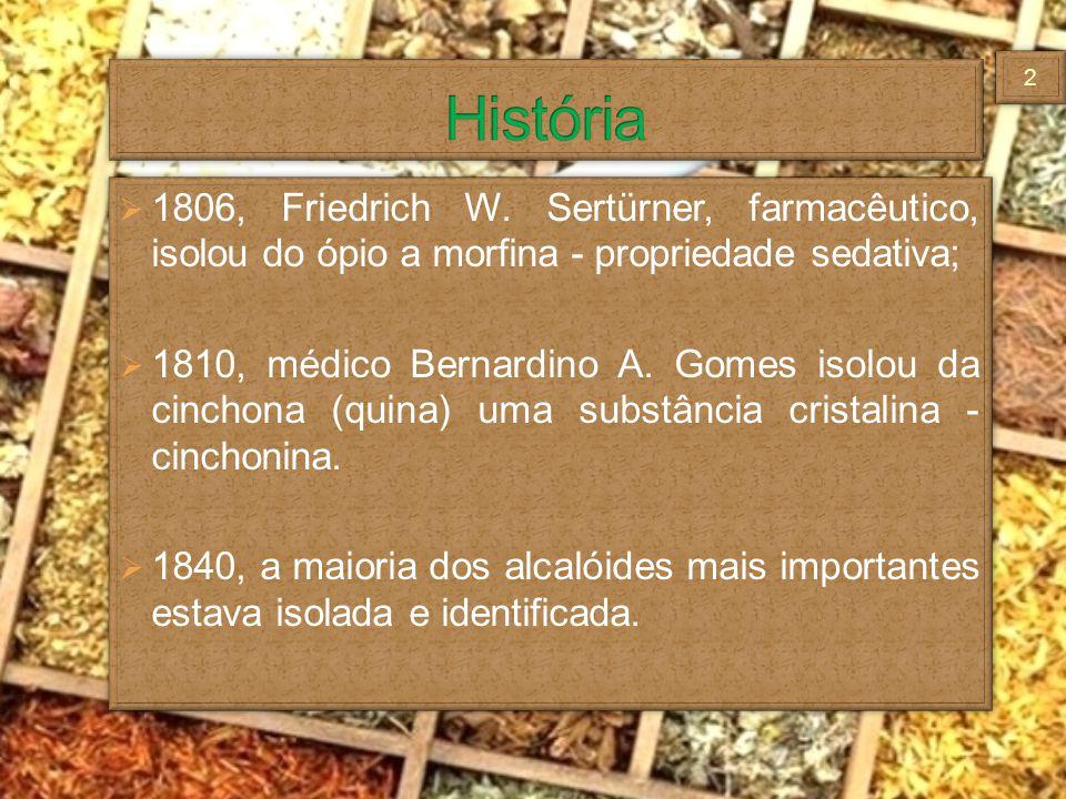 1806, Friedrich W. Sertürner, farmacêutico, isolou do ópio a morfina - propriedade sedativa; 1810, médico Bernardino A. Gomes isolou da cinchona (quin