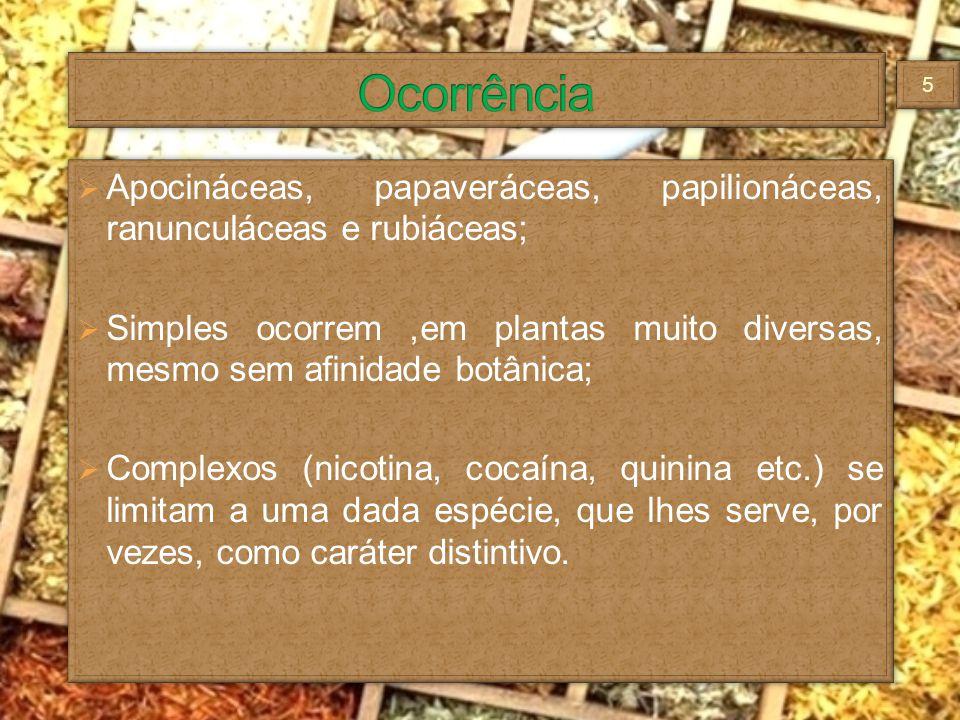 Apocináceas, papaveráceas, papilionáceas, ranunculáceas e rubiáceas; Simples ocorrem,em plantas muito diversas, mesmo sem afinidade botânica; Complexo