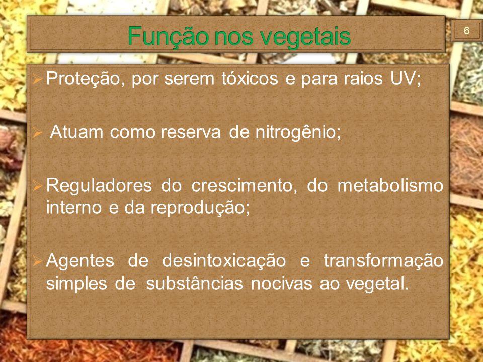 Proteção, por serem tóxicos e para raios UV; Atuam como reserva de nitrogênio; Reguladores do crescimento, do metabolismo interno e da reprodução; Age