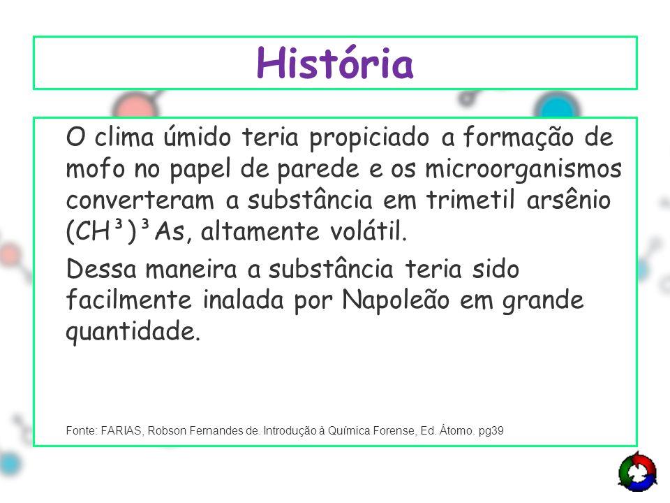 História O clima úmido teria propiciado a formação de mofo no papel de parede e os microorganismos converteram a substância em trimetil arsênio (CH³)³As, altamente volátil.
