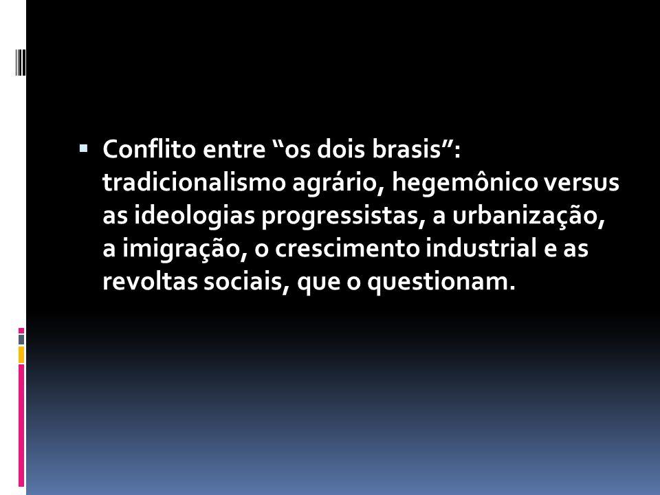 Conflito entre os dois brasis: tradicionalismo agrário, hegemônico versus as ideologias progressistas, a urbanização, a imigração, o crescimento indus