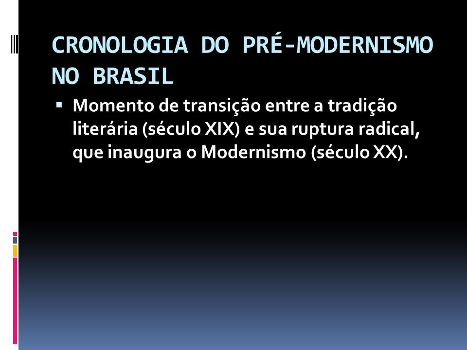 CRONOLOGIA DO PRÉ-MODERNISMO NO BRASIL Momento de transição entre a tradição literária (século XIX) e sua ruptura radical, que inaugura o Modernismo (