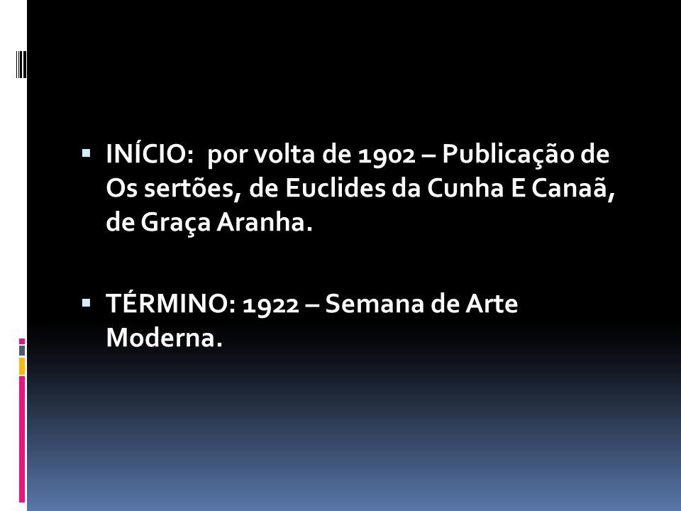 INÍCIO: por volta de 1902 – Publicação de Os sertões, de Euclides da Cunha E Canaã, de Graça Aranha. TÉRMINO: 1922 – Semana de Arte Moderna.