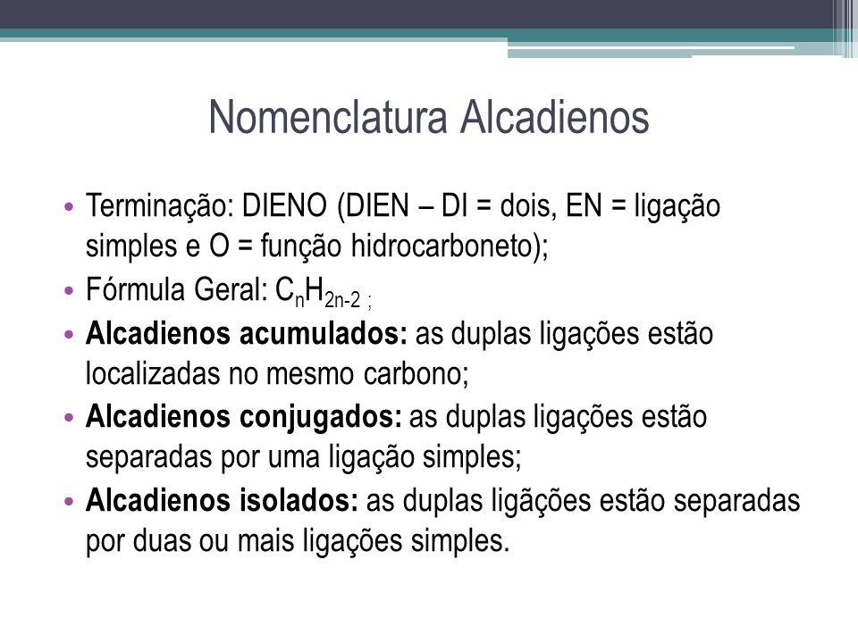 Nomenclatura Alcadienos Terminação: DIENO (DIEN – DI = dois, EN = ligação simples e O = função hidrocarboneto); Fórmula Geral: C n H 2n-2 ; Alcadienos
