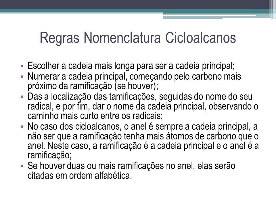 Regras Nomenclatura Cicloalcanos Escolher a cadeia mais longa para ser a cadeia principal; Numerar a cadeia principal, começando pelo carbono mais pró
