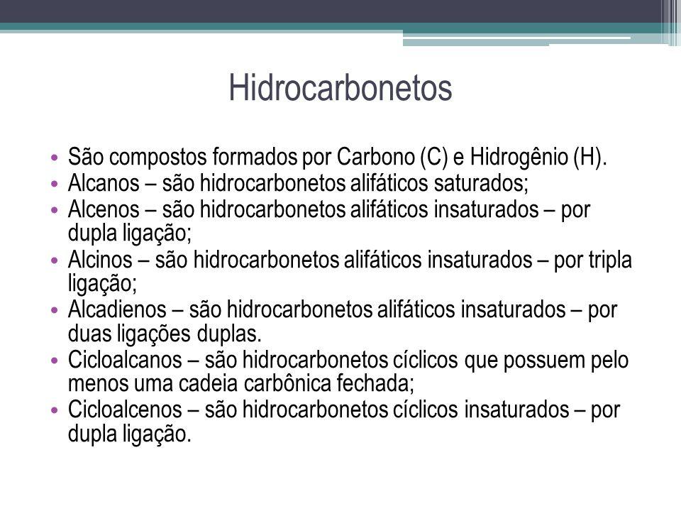 Hidrocarbonetos São compostos formados por Carbono (C) e Hidrogênio (H). Alcanos – são hidrocarbonetos alifáticos saturados; Alcenos – são hidrocarbon