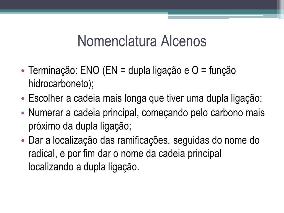 Nomenclatura Alcenos Terminação: ENO (EN = dupla ligação e O = função hidrocarboneto); Escolher a cadeia mais longa que tiver uma dupla ligação; Numer