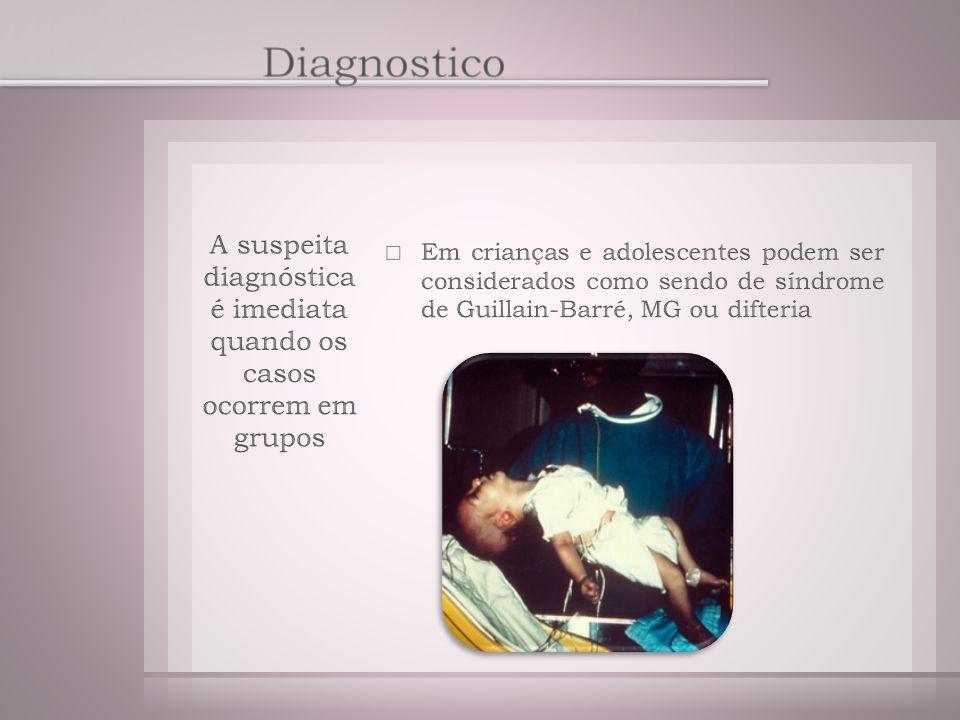 A suspeita diagnóstica é imediata quando os casos ocorrem em grupos