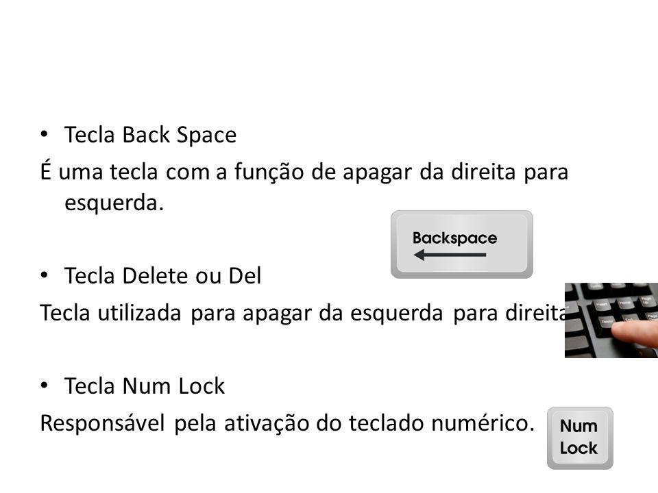 Tecla Back Space É uma tecla com a função de apagar da direita para esquerda. Tecla Delete ou Del Tecla utilizada para apagar da esquerda para direita