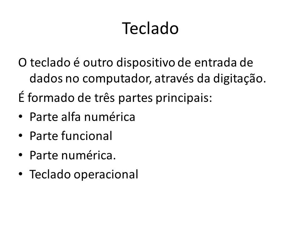 Teclado O teclado é outro dispositivo de entrada de dados no computador, através da digitação. É formado de três partes principais: Parte alfa numéric