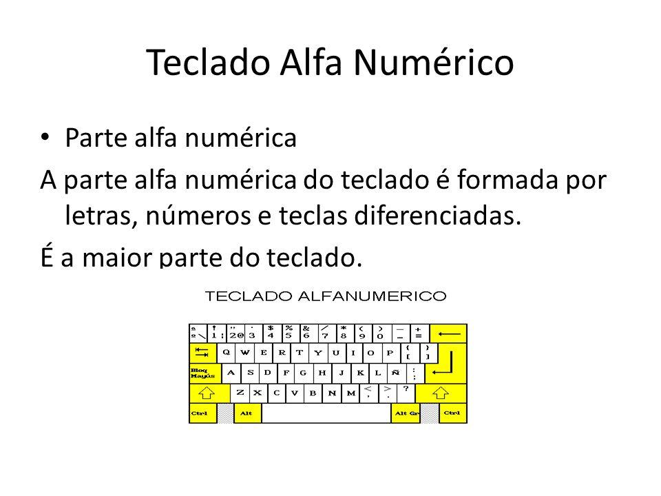 Teclado Alfa Numérico Parte alfa numérica A parte alfa numérica do teclado é formada por letras, números e teclas diferenciadas. É a maior parte do te