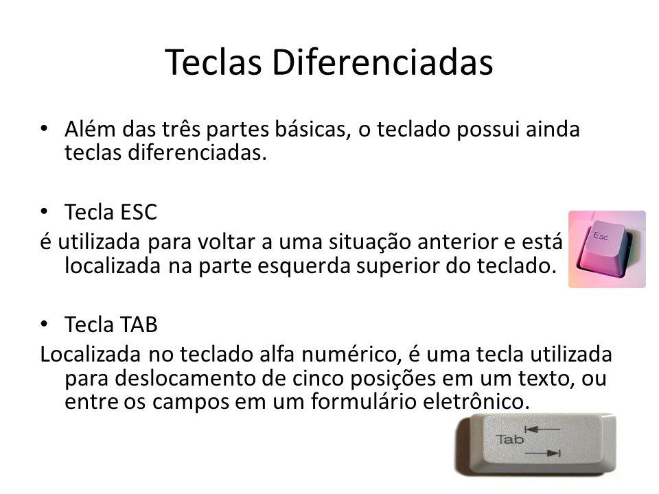 Teclas Diferenciadas Além das três partes básicas, o teclado possui ainda teclas diferenciadas. Tecla ESC é utilizada para voltar a uma situação anter
