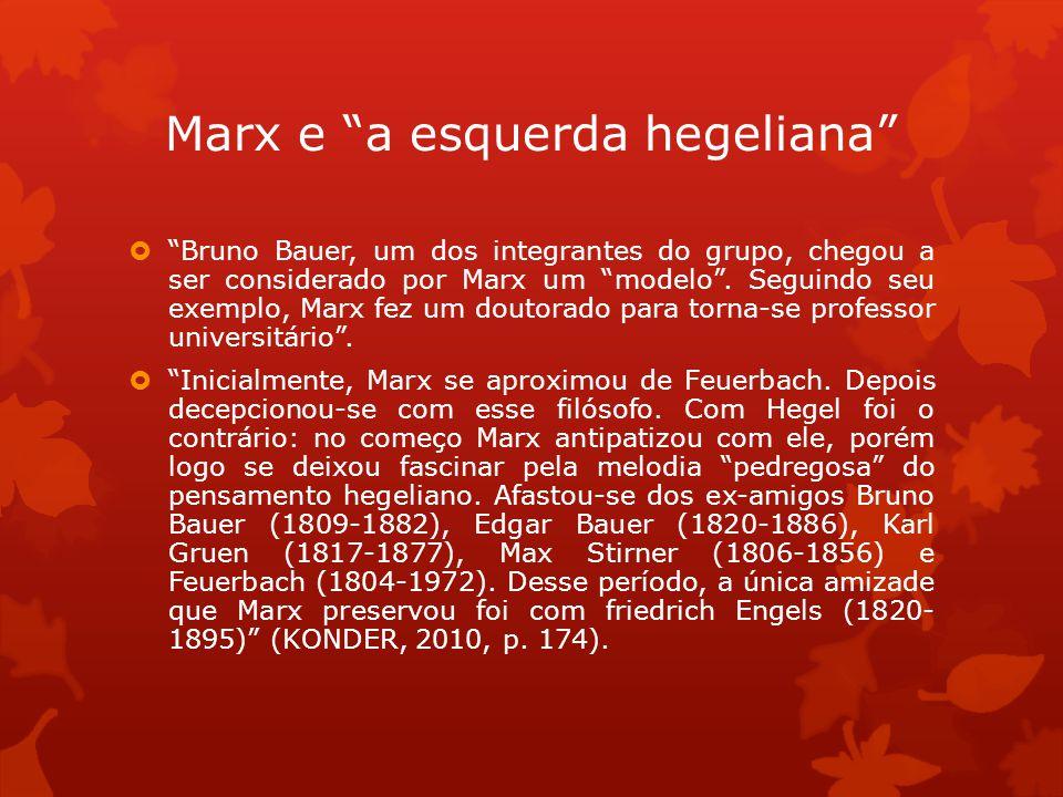 Marx e a esquerda hegeliana Bruno Bauer, um dos integrantes do grupo, chegou a ser considerado por Marx um modelo. Seguindo seu exemplo, Marx fez um d