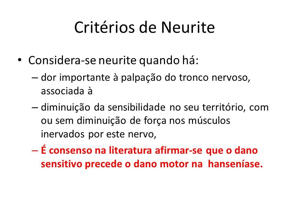 Critérios de Neurite Considera-se neurite quando há: – dor importante à palpação do tronco nervoso, associada à – diminuição da sensibilidade no seu t