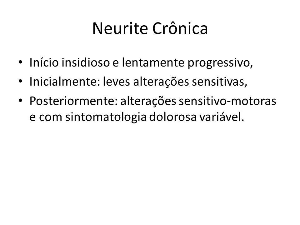 Neurite Crônica Início insidioso e lentamente progressivo, Inicialmente: leves alterações sensitivas, Posteriormente: alterações sensitivo-motoras e c
