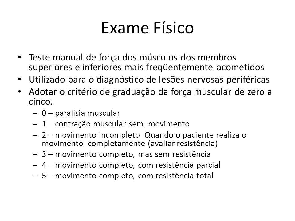 Exame Físico Teste manual de força dos músculos dos membros superiores e inferiores mais freqüentemente acometidos Utilizado para o diagnóstico de les