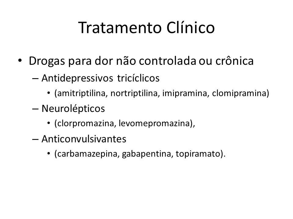Tratamento Clínico Drogas para dor não controlada ou crônica – Antidepressivos tricíclicos (amitriptilina, nortriptilina, imipramina, clomipramina) –
